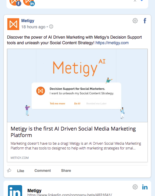 Metigy Social Media Creation Preview