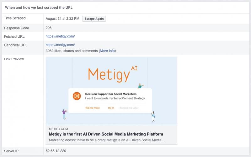 Troubleshooting Facebook Post Link Previews - Metigy