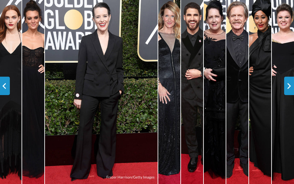 golden globes 2018 red carpet blackout - #timesupnow