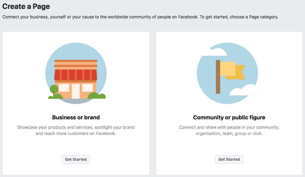 Create Facebook Page Choose from Business or Community