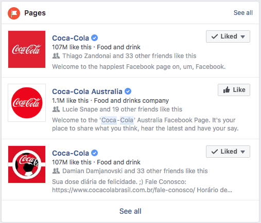 Coca-Cola Facebook Search Results