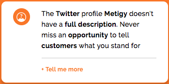 Make sure your social media profile is complete - Metigy AI Action Cards