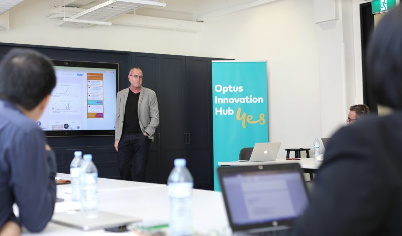 Metigy CEO David Fairfull presenting at the Optus Innovation Hub in Sydney
