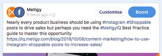 Metigy Facebook Boost Post Start Button