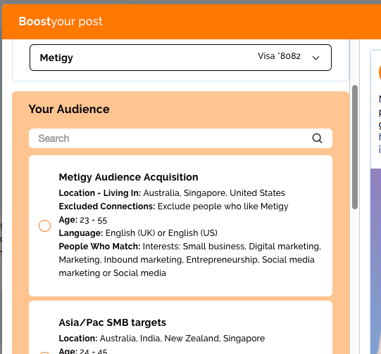 Metigy Facebook Boost Post Audience selector