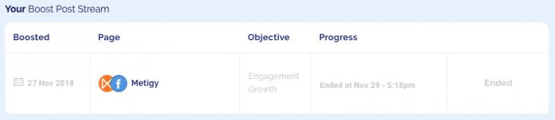 Metigy Facebook Ad Boost Post Stream
