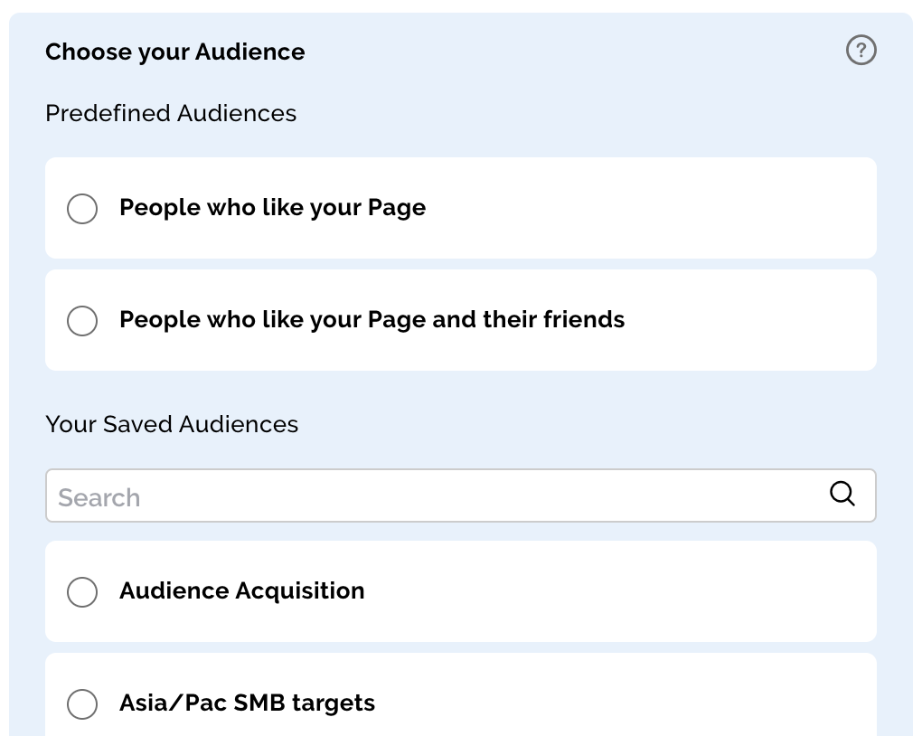 Select a Facebook Audience