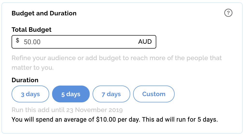 Define the budget and timeframe for your Facebook Ad