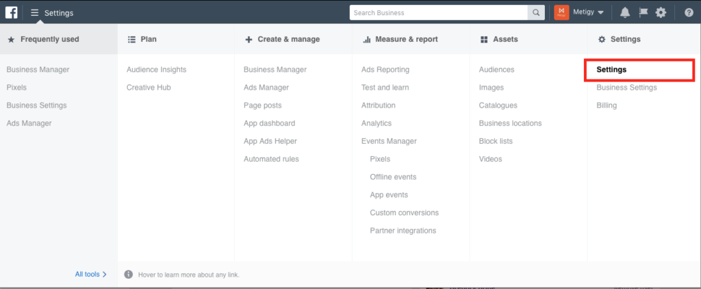Edit settings for Facebook Ad account