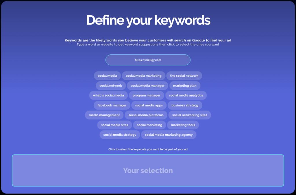 Define your Google Ad Keywords
