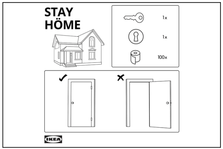 Ikea drawing instructions to stay home