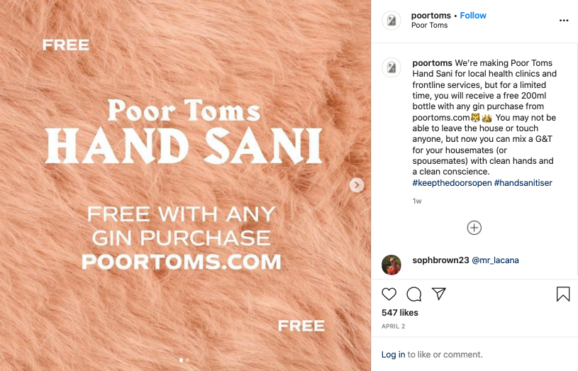 Instagram post from Poor Toms Gin about their new hand sani