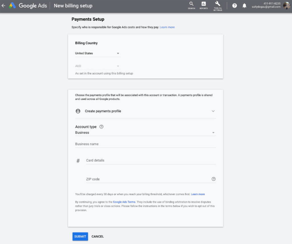 Google Ads - New Billing Setup