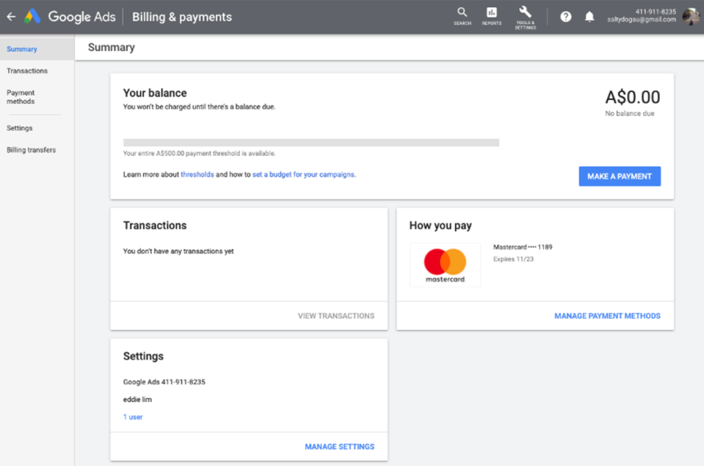 Google ads - Billing Summary