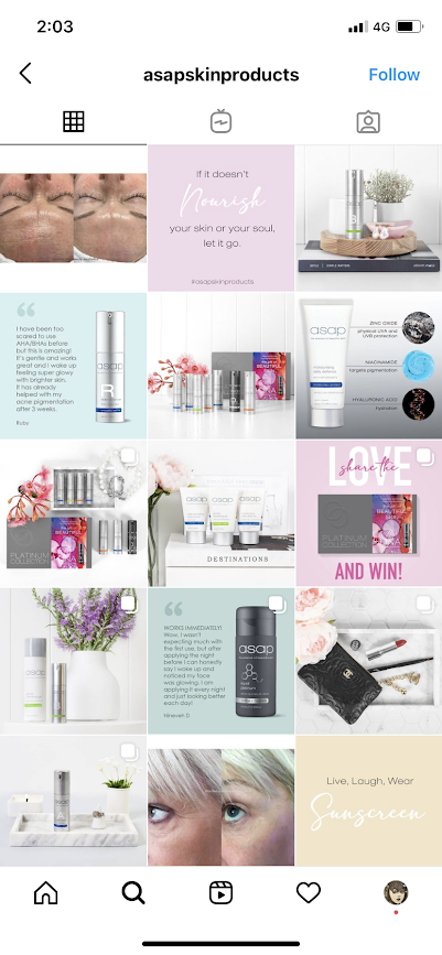 The Instagram feed for ASAP Skin Product includes a diverse mix of before-and-after photos, testimonials, product photos, motivational quotes, and contest updates.