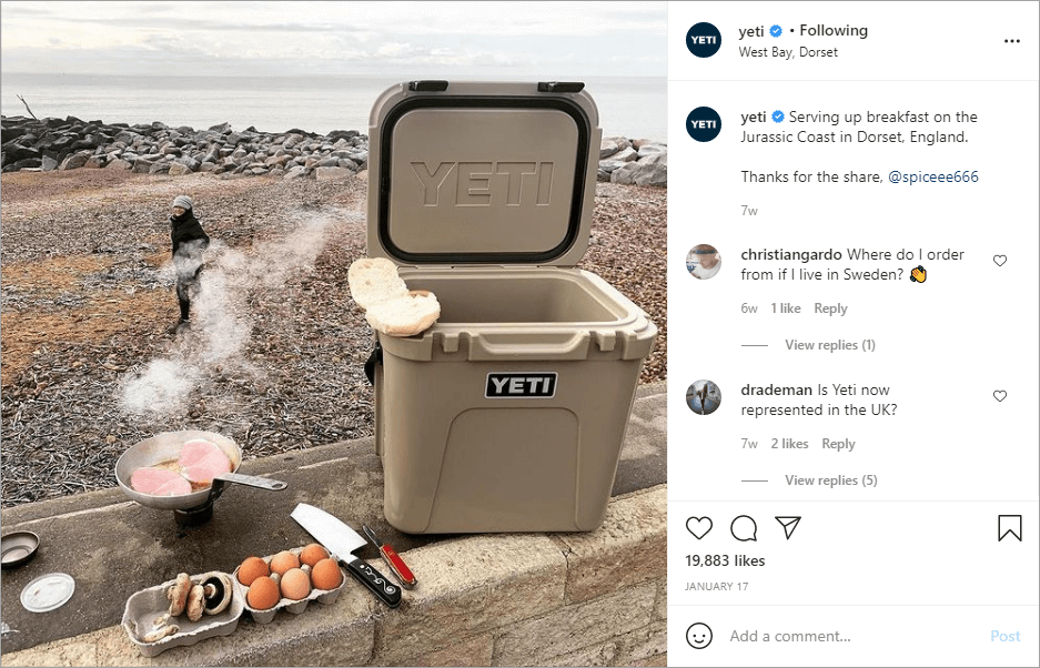 Yeti regularly shares social media content that doesn't cost any money by resharing posts.