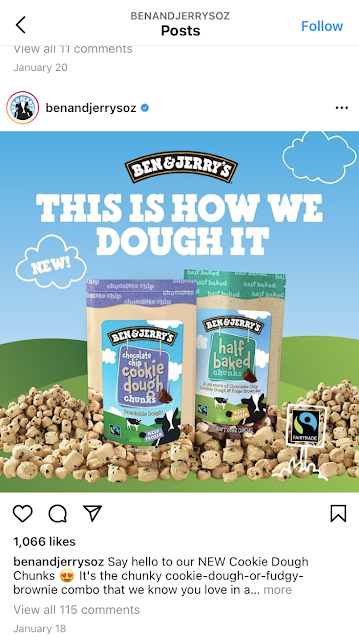 Ben & Jerry's use puns in their Instagram images.