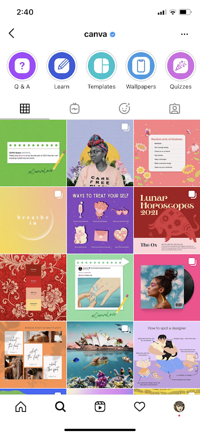 Canva uses images for impact on Instagram to showcase its brand personality.