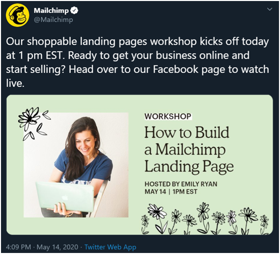 Mailchimp uses visuals to boost its social media engagement.