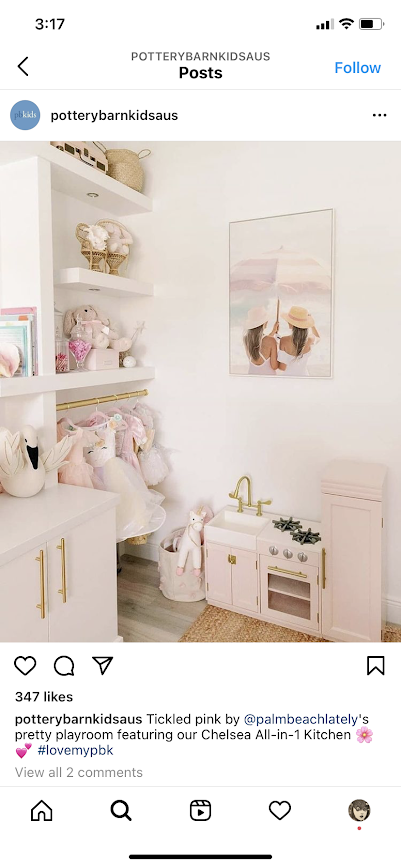 Your customers images can be used for impact on Instagram like Pottery Barn Kids.