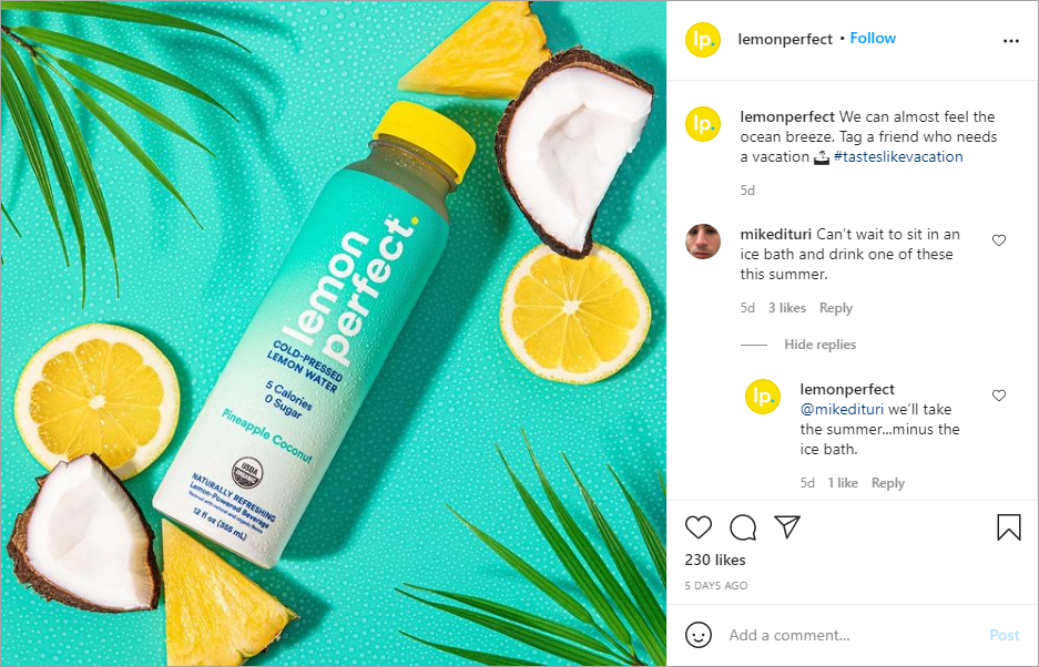 Lemon Perfect respond to comments for Instagram engagement.