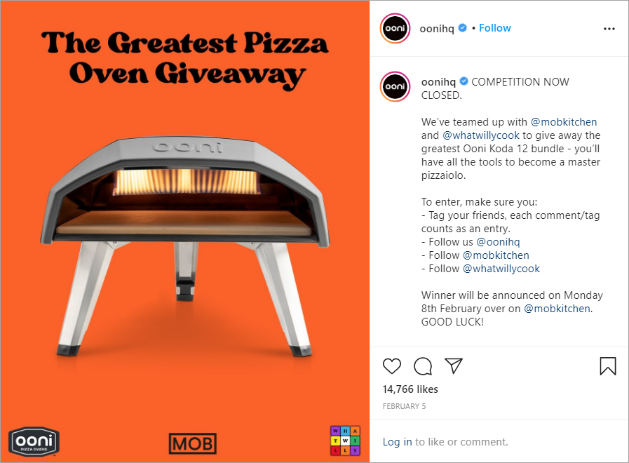 Ooni uses giveaways on Instagram to build its audience engagement.