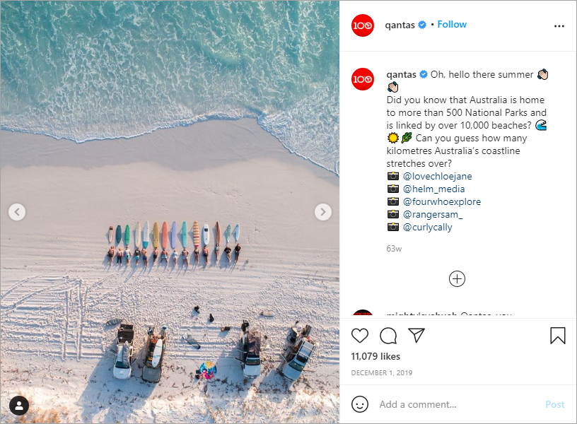 Qantas on Instagram uses questions in its CTAs to engage its followers.