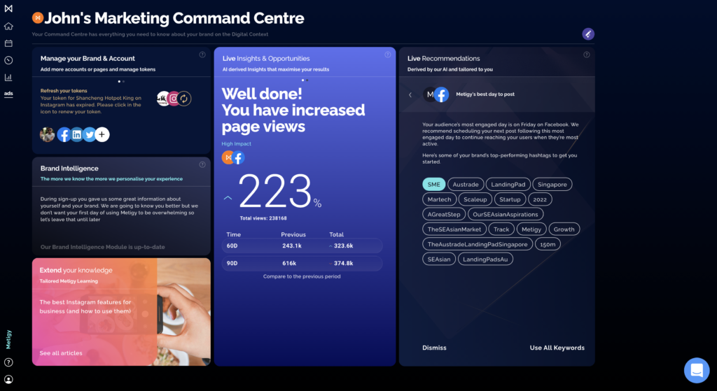 Metigy's command centre which shows some social media data and recommendations for easy wins.