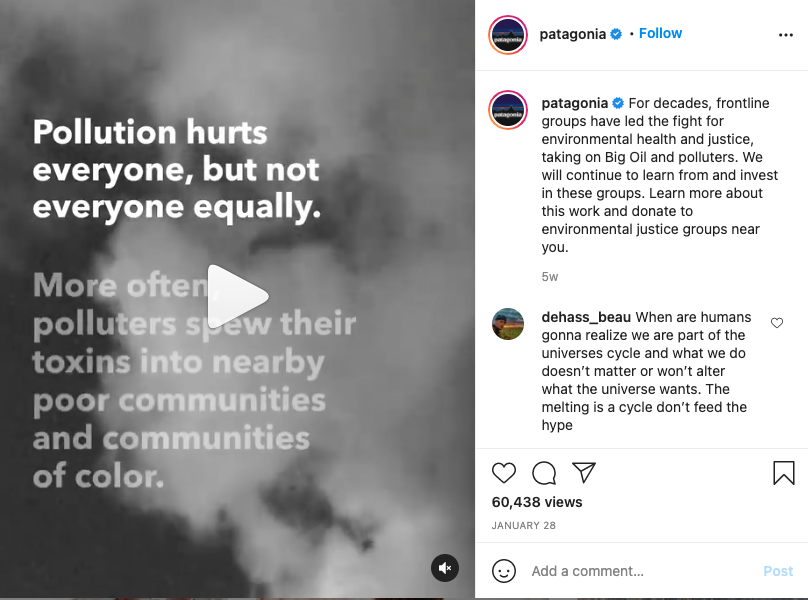 Patagonia taking a stand on its Instagram page.