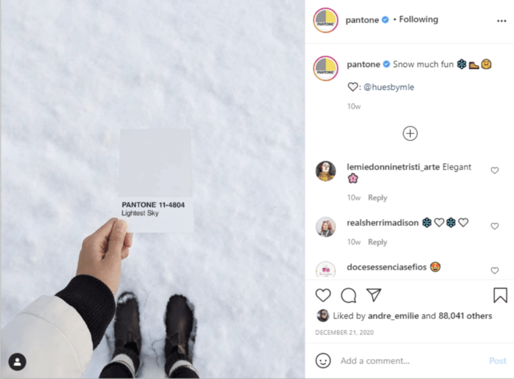 This Instagram example shows Pantone using users content to generate new ideas.