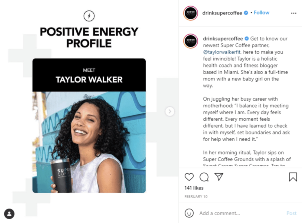 This example on social media shows interviewing being used for fresh content.