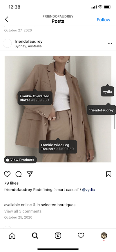 An example of a shoppable Instagram posts from Friend of Audrey.