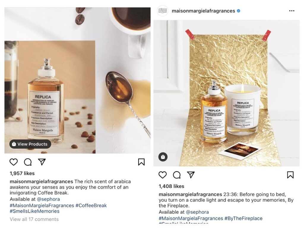 Maison Margiela Fragrances does a great job of selling on Instagram.